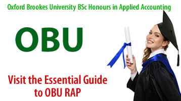 OBU – Oxford Brookes University BSc Honours in Applied Accounting.