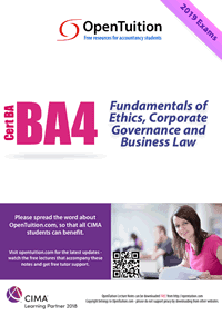 CIMA BA4 Fundamentals of Ethics Corporate Governance and Business Law