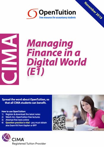 CIMA E1 - Managing Finance in a Digital World 2