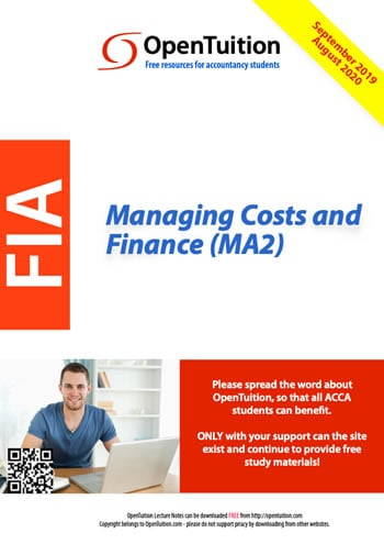 MA2 Managing Costs and Finance 1