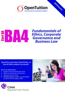 CIMA BA4 Fundamentals of Ethics, Corporate Governance and Business Law 2