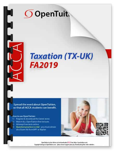 ACCA Taxation notes – Paper TX-UK notes 1